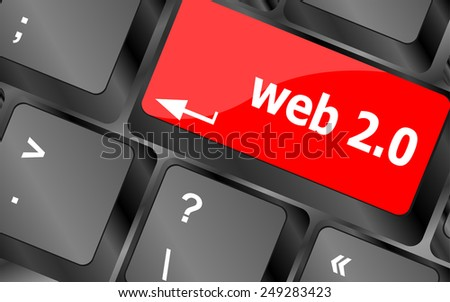 web 2 0 rss or blog concept with internet computer key on keyboard - stock vector