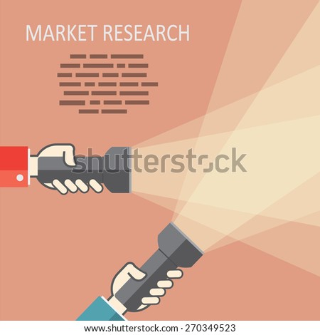 Web search with flat flashlight and hands  - stock vector