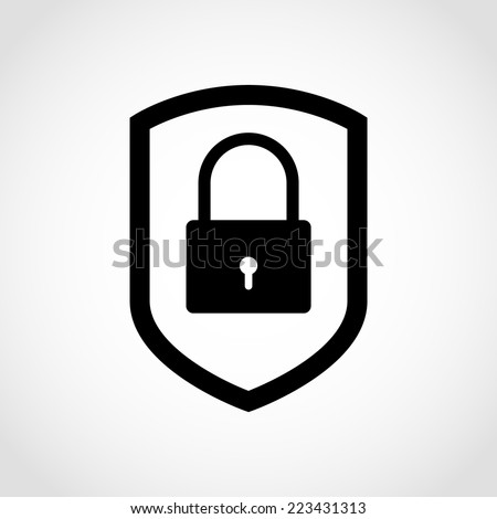 Web security icon shield Isolated on White Background - stock vector