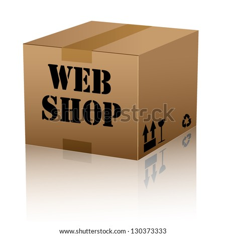 web shop text over cardboard box isolated. vector illustration - stock vector