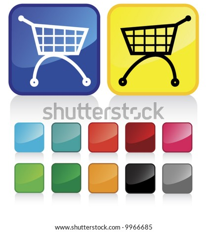 web shopping cart buttons - and suggested colors with glossy aspect - check my gallery for other similar vectors - stock vector