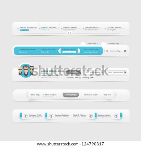 Web site design menu navigation elements with icons set - stock vector
