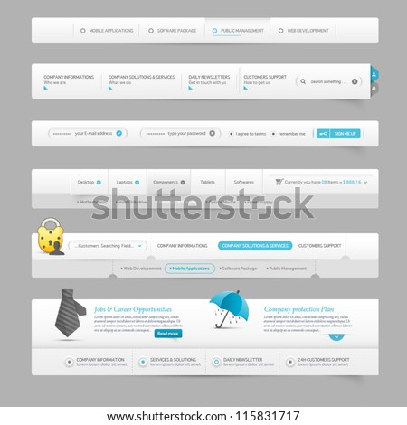 web site design template navigation elements with icons - stock vector