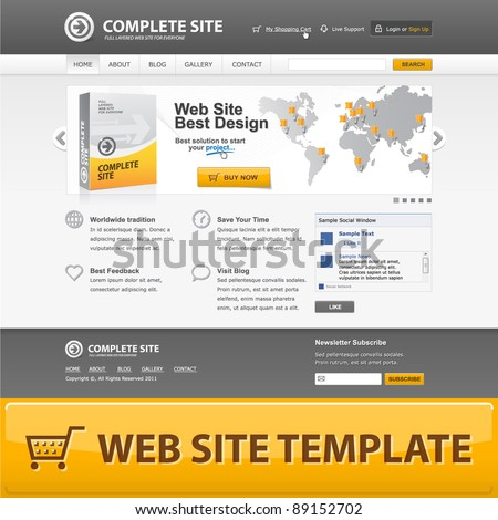 Web site design template. Vector EPS10. Grey colors. See inside for more pages. - stock vector