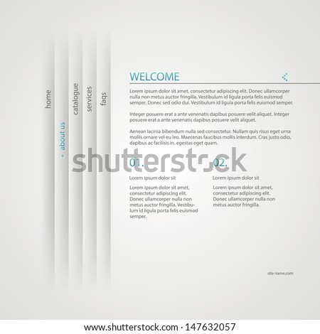 Web site design, with menu navigation elements in minimal style. - stock vector