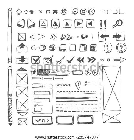 web site ellements sketch - stock vector