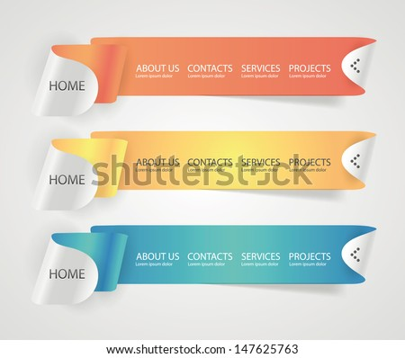 Web site navigation menu bars ribbon design elements. - stock vector