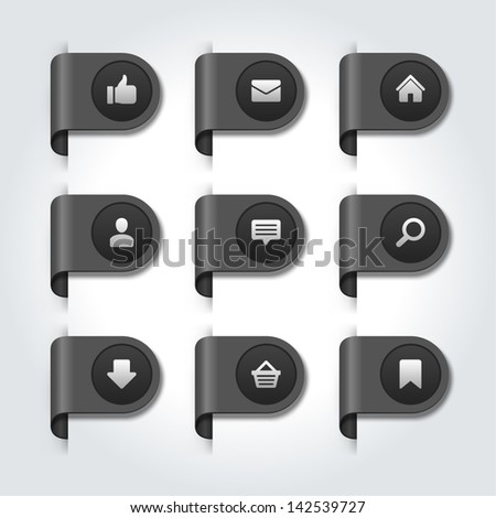 Web site on label vector icons set - stock vector