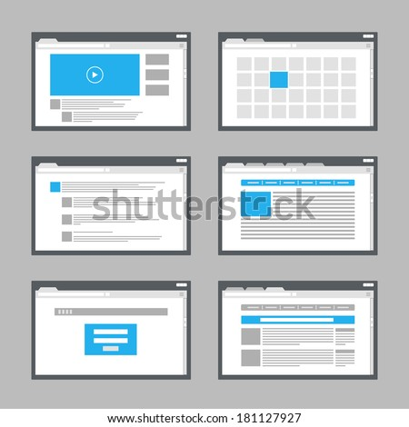 web site page templates collection - stock vector