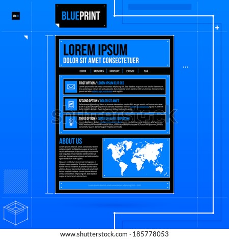 Web site template in blueprint style. EPS10 - stock vector