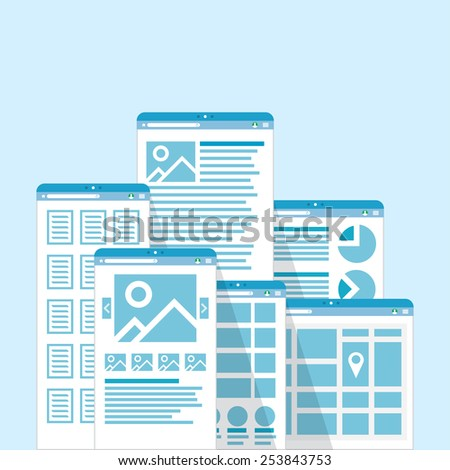 Web site templates collection pages, vector illustration - stock vector