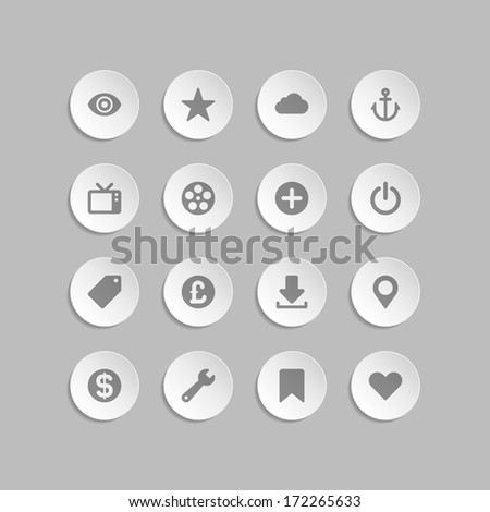 Web site vector icons set bend paper effect. Vector design elements for design.  - stock vector