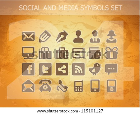 web social and media pictograms set isolated - stock vector