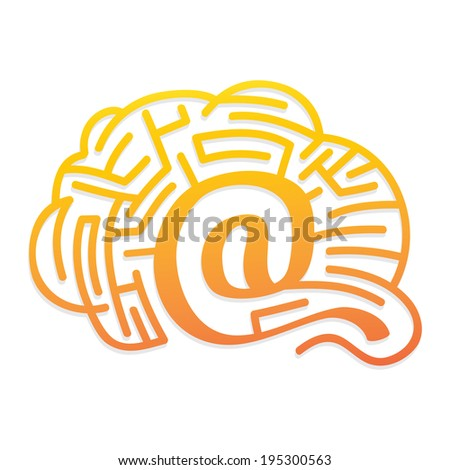 web solutions - brain with labyrinth - stock vector