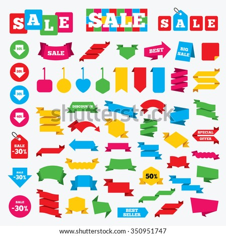 Web stickers, banners and labels. Sale arrow tag icons. Discount special offer symbols. 10%, 20%, 30% and 40% percent discount signs. Price tags set. - stock vector