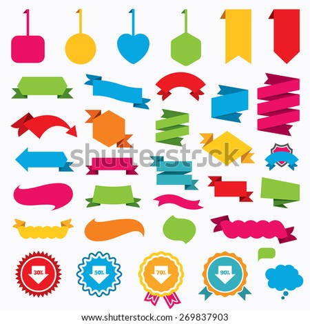 Web stickers, tags and banners. Sale arrow tag icons. Discount special offer symbols. 30%, 50%, 70% and 90% percent discount signs. Speech bubbles and award labels. Vector - stock vector