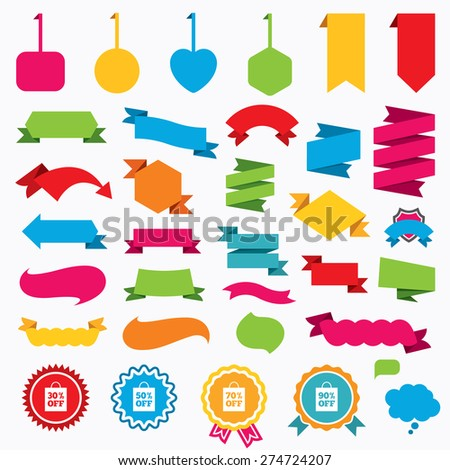 Web stickers, tags and banners. Sale bag tag icons. Discount special offer symbols. 30%, 50%, 70% and 90% percent off signs. Speech bubbles and award labels. Vector - stock vector