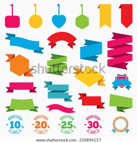 Web stickers, tags and banners. Sale discount icons. Special offer stamp price signs. 10, 20, 25 and 30 percent off reduction symbols. Template modern labels. Vector - stock vector