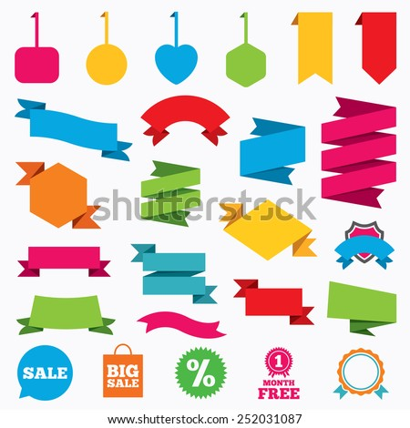 Web stickers, tags and banners. Sale speech bubble icon. Discount star symbol. Big sale shopping bag sign. First month free medal. Template modern labels. Vector - stock vector