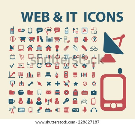 web, technology black isolated icons, signs, symbols, illustrations set, vector - stock vector