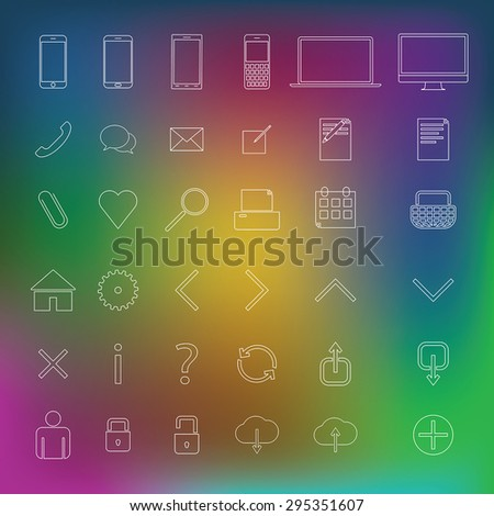 Web, technology, simple, thin outline icons. - stock vector