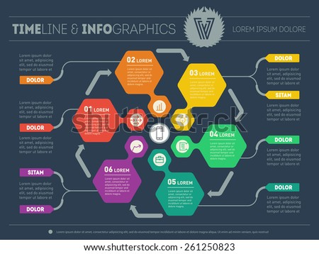 Web Template for circle diagram or presentation. Business concept with six options. Vector infographic of technology process. Part of the report on dark background. - stock vector