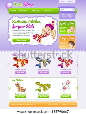 Web template for on line kid shop - stock vector