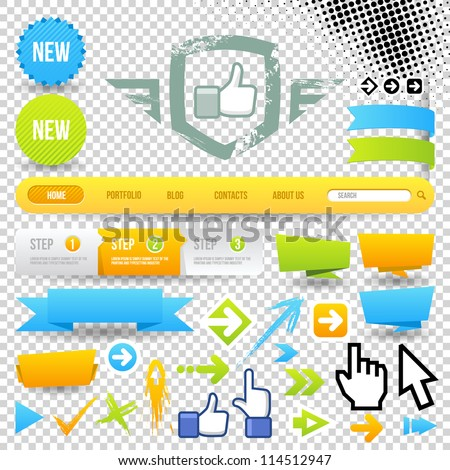 Web Template Icon and Arrows. Design Elements. Site Navigation. - stock vector