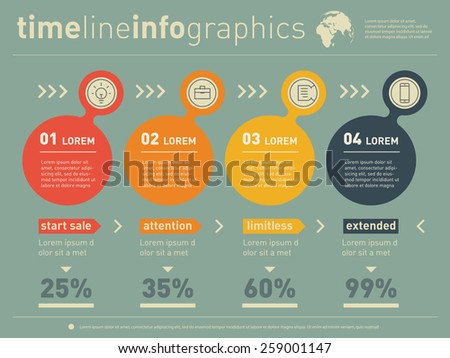 Web Template of diagram or presentation. Business concept with 4 options. Vector infographic of technology process. - stock vector