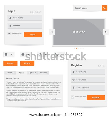 Web template | vector design eps | silver color with orange | login register slideshow buttons search options | abstract elements with icons - stock vector