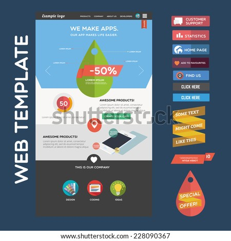 Web template + web buttons - stock vector