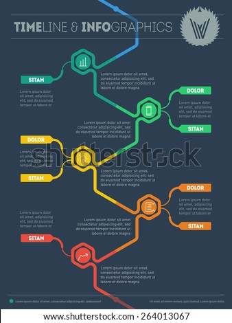 Web template with icons and design elements. Vector Diagram for data visualization. Education tendencies and trends. Infographic timeline. Chart of technology process. - stock vector