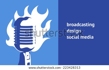 Web template with retro mic - stock vector
