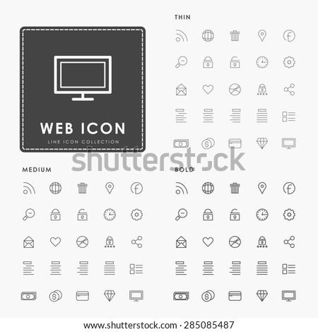 web thin, medium and bold line icon - stock vector