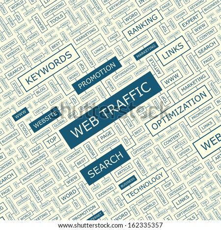 WEB TRAFFIC. Word cloud concept illustration. Word cloud collage. Vector illustration. - stock vector