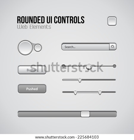 Web UI Controls Design Elements: Buttons, Switchers, On, Off, Player, Audio, Video: Play, Stop, Next, Pause, Volume, Equalizer, Knobs, Drop-down, Navigation Bar, Progress Bar, Search  - stock vector