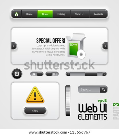 Web UI Elements Design Gray Green. Part 3. Navigation Bar, Menu, Slider, Power Button, Search, Scroller, Switcher, On, Off,  Dialog Window - stock vector