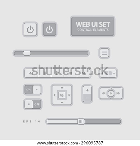 Web UI Elements Flat Design Gray. Elements: Buttons, Switchers, Slider - stock vector