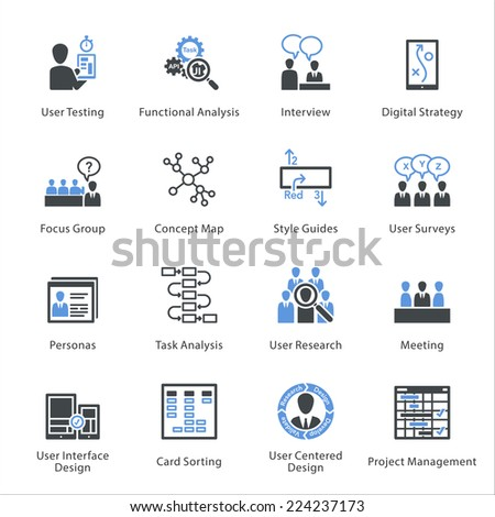 Web Usability & Accessibility Icons Set 1 - Bleu Series  - stock vector