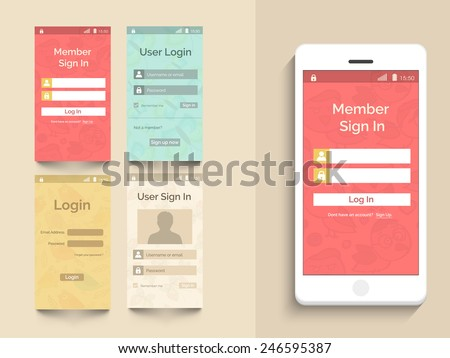 Web user interface with login feature in four color choice for mobile with smartphone presentation on beige background. - stock vector