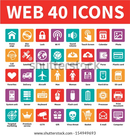 Web 40 vector icons set. Internet business creative sign collection in flat style colors. Network symbols. Design element.  - stock vector