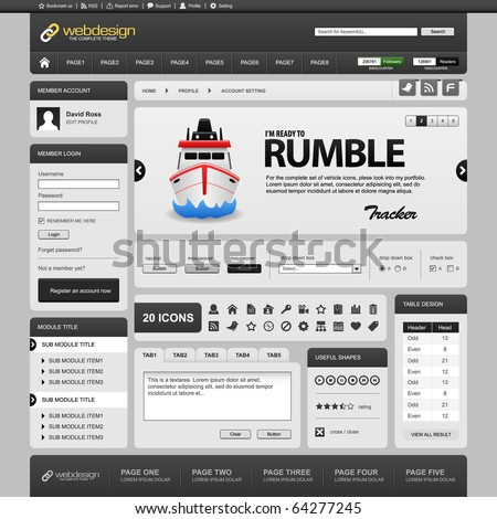 Web Website Element Design Template Grey Dark Vector - stock vector