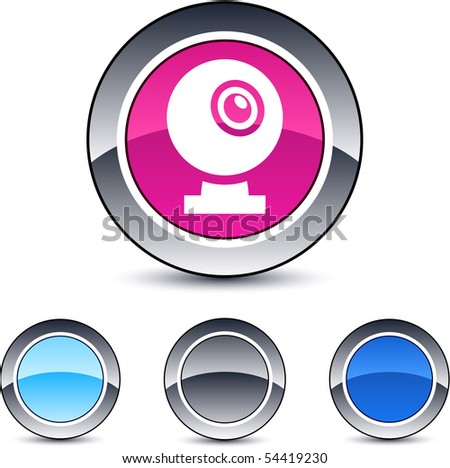 Webcam glossy round web buttons. - stock vector