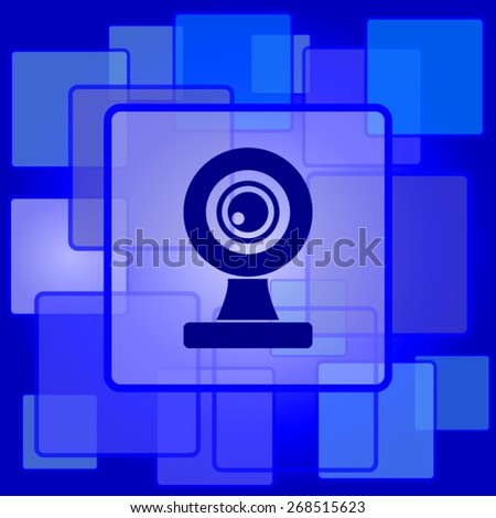 Webcam icon. Internet button on abstract background.  - stock vector