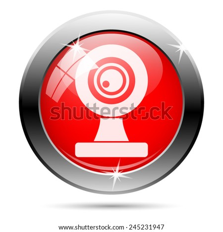 Webcam icon. Internet button on white background.  - stock vector