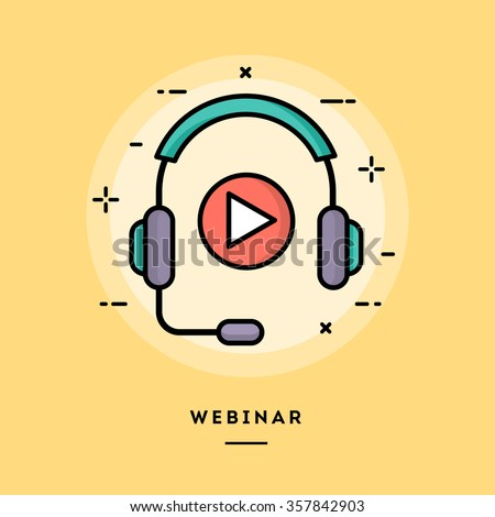 Webinar, flat design thin line banner, usage for e-mail newsletters, web banners, headers, blog posts, print and more - stock vector