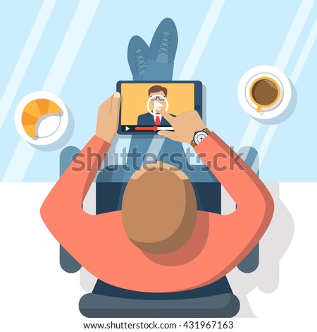 Webinar, online conference, lectures, education  and training in internet. Distance learning. Vector illustration flat design. Online presentation. Businessman hand tablet touching the screen. - stock vector