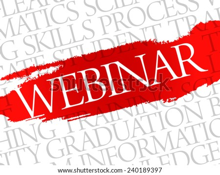 WEBINAR. Word education collage on gray vector background - stock vector