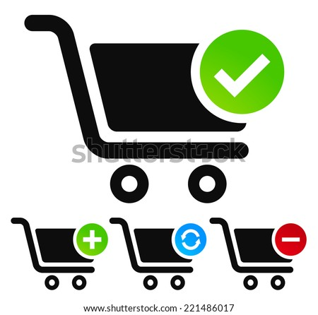 Webshop, shopping cart symbols - stock vector