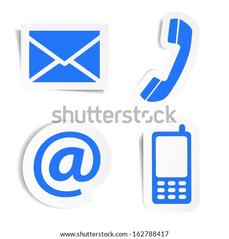 Website and Internet contact us icons set and design symbols on blue stickers with shadow. EPS10 vector illustration isolated on white background. - stock vector